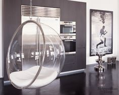 Eero Aarnio transparent chair at home of Kelly Hoppen, UK
