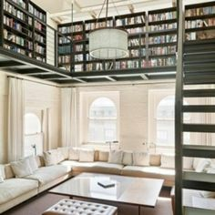 White and bookshelves.