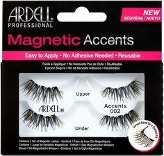 Ardell Magnetic Strip Lashes - Magnetic Accent 002 - Fuller Accent Lash With Wispies Criss-Cross Effect - Lush lashes in a flash! We use smaller, virtually invisible magnets, p