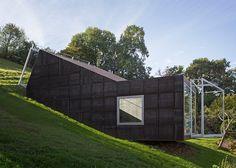 Tick-shaped art studio that follows the slope of an Austrian hillside.