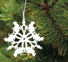 cat lover snowflake ornament, tree ornaments handmade from peppersprouts