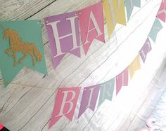 Happy Birthday Unicorn Party Banner - First Birthday, Baby Shower, Birthday Party, Rainbow Party, Photo Prop,