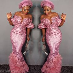Us 16443 13 Off Luxury Special Pink Aso Ebi Lace Prom Dresses 2019 Gonna Feather Pearls Mermaid Prom Gowns Short Puffy Sleeves African Gowns In Lace Gown Styles, Aso Ebi Lace Styles, African Lace Styles, African Lace Dresses, Latest African Fashion Dresses, African Inspired Fashion, Ankara Styles, Ankara Tops, African Clothes