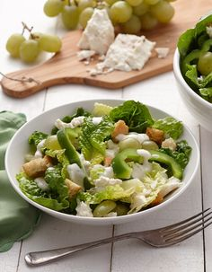 The inventive combination of crisp romaine, crumbly feta, and tart green grapes make this salad a stand-out. Try adding chicken to make it a more substantial dinner salad, or serve as a side or light lunch. Creamy Cucumber Ranch adds a refreshing twist!
