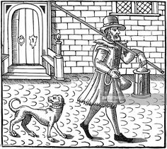 The Bellman of London, 1616. London night-watchman going on his rounds with bell, lantern and pike, with his dog at his heels. Such a figure would have been a familiar one in late 16th and early 17th century cities. Title page of ballad in the Bagford Collection (British Museum).