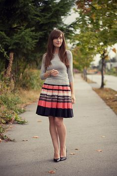 gray cotton and striped pleaded skirt   Girl and Closet: outfits