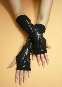 Black Gloves with Metal Zipper and Grommets, Gothic Cyber Armwarmers, Fingerless Unisex, Bondage and Punk, Visual Kei on Etsy, $28.00