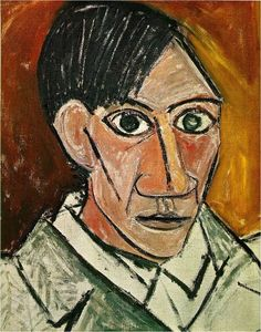 Self Portrait - Pablo Picasso. Pablo Picasso was the most dominant and influential artist of the first half of the twentieth century. His most significant contribution was inventing Cubism. He worked in different style. Picasso Self Portrait, Picasso Portraits, Picasso Paintings, Cubist Portraits, Self Portrait Artists, Famous Self Portraits, Portrait Paintings, Indian Paintings, Georges Braque