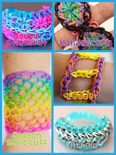 I absolutely love the dragon scale one , my teacher let a few girls in my class look at rainbow loom bracelets on her phone and I thought they were super stylish ! Rainbow Loom Tutorials, Rainbow Loom Patterns, Rainbow Loom Creations, Rainbow Loom Bands, Rainbow Loom Charms, Rainbow Loom Bracelets, Loom Love, Fun Loom, Loom Band Bracelets