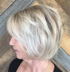Trendy Haircuts Ideas : Over Ash Blonde Balayage Bob Haircut For Older Women, Short Hair Cuts For Women, Short Hairstyles For Women, Hairstyles With Bangs, Asymmetrical Hairstyles, Afro Hairstyles, Wedge Hairstyles, Updos Hairstyle, Wedding Hairstyles
