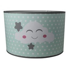 Kinderlamp voor de babykamer en kinderkamer in mint / paste groen met lieve witte wolkjes en grijze sterren. hanglamp lampenkap