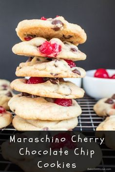 Maraschino Cherry Chocolate Chip Cookies - Oh my heavens! I've combined my darling husband's favorite cookie with one of my faves to make these Maraschino Cherry Chocolate Chip Cookies! Now we can fight over the last cookie