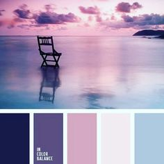 Shades of the eggplant color match the pastel shades of blue very harmoniously. This palette of cold colors is appropriate for bedroom decoration. Colour Pallette, Color Palate, Color Combinations, Sunset Color Palette, Sunset Colors, Bedroom Color Palettes, Purple Palette, Purple Sunset, Bedroom Color Schemes