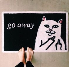 home accessory home decor doormat cats go away middle finger mat funny doormat rug cats