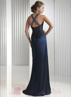 Midnight Blue Halter jeweled Sheath Prom Gown Evening Dress P1256 ...looove for bridesmaids