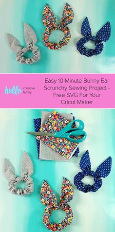 Easy 10 Minute Bunny Ear Scrunchy Sewing Project With Cricut Cut File Some people call them a bunny ear scrunchy others a knot or bow scrunchy. Sew one with our easy 10 minute sewing tutorial with free Cricut Maker cut file! Sewing Hacks, Sewing Tutorials, Sewing Crafts, Sewing Tips, Dress Tutorials, Sewing Basics, Sewing Patterns Free, Free Sewing, Dress Patterns