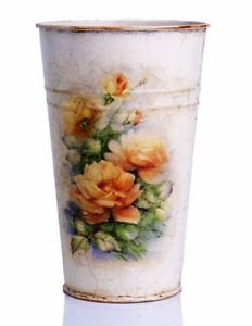 COTTAGE VINTAGE LOOK METAL VASE SHABBY CHIC ROSES FLORAL THEME DECOUPAGE GIFTS