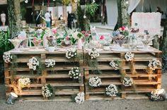 Pallets na decoração de casamento