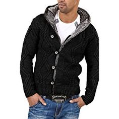Carisma Men s sweater 7013 XL black Stylish cardigan jacket for men Slim  Fit high-quality cable knit materials and workmanship speak for themselves 09321ab6d847