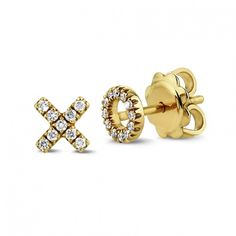 Xo Earrings In 18 Karat Yellow Gold With Small Round Diamonds Of G Colour And Vs2