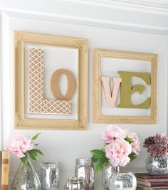 Let a little love into your home with this easy DIY // DIY Letter Art // Mantel DIY Decor