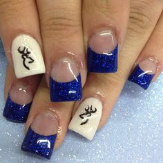 Country girl nails - blue and browning designs Girls Nail Designs, Cute Nail Designs, Acrylic Nail Designs, Acrylic Nails, Acrylics, Awesome Designs, Deer Nails, Camo Nails, Camouflage Nails