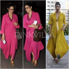 Sridevi Kapoor was snapped at the airport last night looking super comfy in her maxi dress. She wore a magenta draped shirt dress by Payal Khandwala. Indian Attire, Indian Wear, Indian Outfits, India Fashion, Hijab Fashion, Fashion News, Hijab Styles For Party, Payal Khandwala, Indie Mode