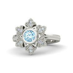 Round Aquamarine 14K White Gold Ring with Diamond | Snowflake Ring