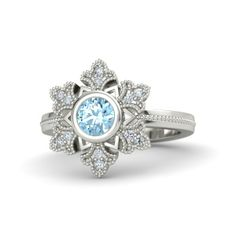 Vintage-Inspired Snowflake Ring - 14K White Gold Ring with Diamonds and Round Aquamarine Center Gem Stone.  <3 this ring!