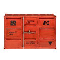 Aparador contenedor de metal rojo An. 134 cm