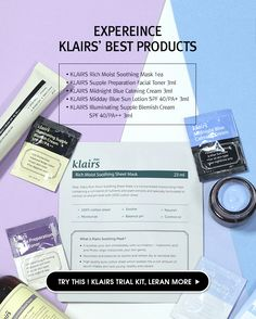 KLAIRS Best Trial kit. Try our sample kit that contains a  collection of four of…