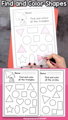Find and color shapes worksheets for kindergarten is part of Shapes worksheet kindergarten - Preschool Learning Activities, Preschool Printables, Preschool Worksheets, Worksheets For Preschoolers, English Worksheets For Kindergarten, Shape Activities, Sensory Activities, Shapes Worksheet Kindergarten, Shapes Worksheets