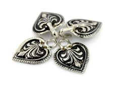 Charming Silver Baroque Spade HOOK And EYE Fasteners