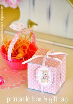 Free printable favor box and bunny tag - ausdruckbare Geschenkbox - freebie | MeinLilaPark – digital freebies