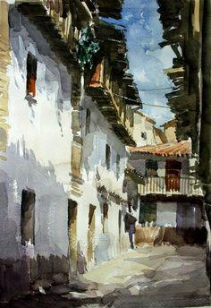 Watercolor City, Watercolor Sketch, Watercolor Artists, Watercolor Landscape, Watercolour Painting, Landscape Art, Landscape Paintings, Watercolors, Watercolor Architecture