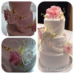 Quinceñera cake, rolled vanilla fondant with sugar paste flowers. Chic and Elegant