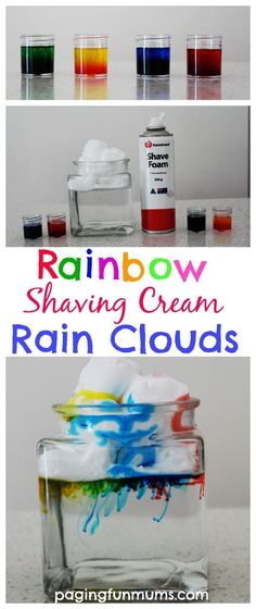 Rain Clouds - Science Experiment for Kids Rainbow Shaving Cream Rain Clouds. An awesome Science Experiment for kids! An awesome Science Experiment for kids! Cool Science Experiments, Science Fair Projects, Science Activities, Projects For Kids, Activities For Kids, Party Activities, Art Projects, Colour Activities, Science Centers
