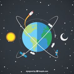 Earth with a Rocket and Satellites Free Vector