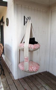 Hanging Cat Bed, Rust & Tan Fish Print, Double Cat Bed, Kitty Cloud, Cat Bed, Pet Furniture, Pet Gift, Cat Tree, Catio #catsdiybed #CatTree
