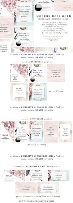 Social Media Templates, Pink Rose Gold Social Branding for Blog, Instagram Template, Floral Stock Photos, Coffee Laptop Modern Office Photo