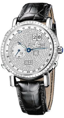 GMT Perpetual Diamond Pave Dial Leather Strap Automatic Men's Watch