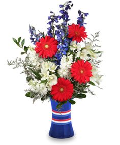 RED, WHITE & BEAUTIFUL Bouquet of Flowers | Summer Flowers ...