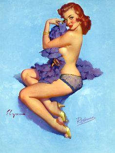 Redheaded Pinup Girl in Purple   Tattoo Ideas & Inspiration - Pinups   Gil Elvgren - Roxanne