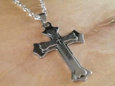 New Gift Unisex's Men Stainless Steel Cross Pendant Silver Bible Necklace. in Jewelry & Watches, Fashion Jewelry, Necklaces & Pendants | eBay