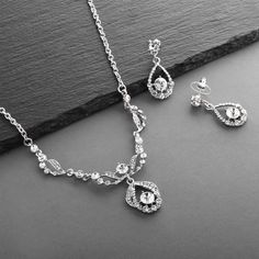 7e9c6f6d880d Ultra Dainty 10.5mm Cubic Zirconia Round Halo Necklace and Stud Earrings Set  Plated in Platinum - CC12JGUEZ1V