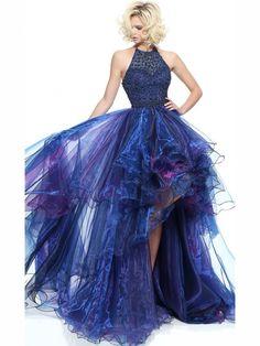 A-Line/Princess Halter Sleeveless Beading Asymmetrical Organza Dresses JollyProm