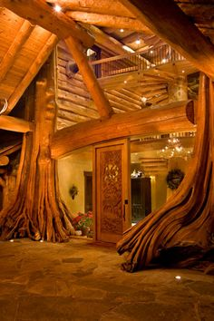 """Entrance to a true """"tree house"""" log home . gorgeous use of wood . British Columbia photo via loghome Amazing Architecture, Architecture Design, British Architecture, Natural Architecture, Amazing Buildings, Building Architecture, Architecture Office, Log Cabin Homes, Log Cabins"""