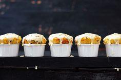 Passionfruit sour cream muffins Muffin Tin Recipes, Baking Recipes, Dessert Recipes, Cake Recipes, Sour Cream Muffins, Carrot Spice Cake, Passionfruit Recipes, Baking Muffins, Little Cakes