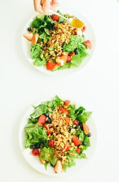 Triple Berry Salad with Sauteéd Shallots and Walnuts in a Cayenne-Honey Vinaigrette