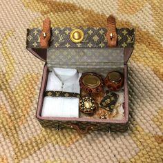 Luggage Satchel Valise Designer Filled 1:12 Dollhouse Miniature